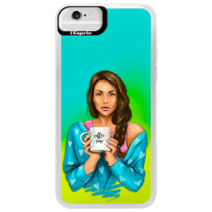 Neonové pouzdro Blue iSaprio Coffe Now Brunette na mobil Apple iPhone 6/6S