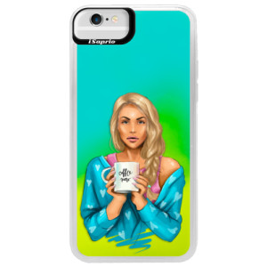 Neonové pouzdro Blue iSaprio Coffe Now Blond na mobil Apple iPhone 6/6S