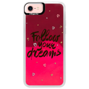Neonové pouzdro Pink iSaprio Follow Your Dreams black na mobil Apple iPhone 7