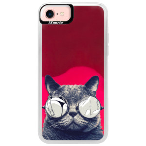 Neonové pouzdro Pink iSaprio Crazy Cat 01 na mobil Apple iPhone 7