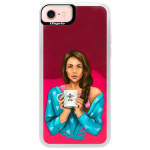 Neonové pouzdro Pink iSaprio Coffe Now Brunette na mobil Apple iPhone 7
