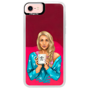 Neonové pouzdro Pink iSaprio Coffe Now Blond na mobil Apple iPhone 7