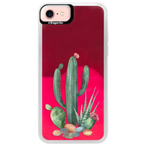 Neonové pouzdro Pink iSaprio Cacti 02 na mobil Apple iPhone 7