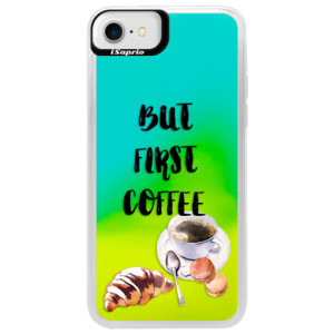 Neonové pouzdro Blue iSaprio First Coffee na mobil Apple iPhone 7