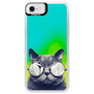 Neonové pouzdro Blue iSaprio Crazy Cat 01 na mobil Apple iPhone 7