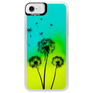 Neonové pouzdro Blue iSaprio Three Dandelions black na mobil Apple iPhone 7