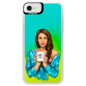 Neonové pouzdro Blue iSaprio Coffe Now Brunette na mobil Apple iPhone 7