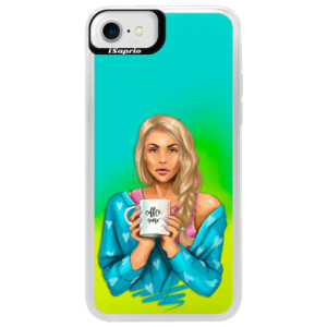 Neonové pouzdro Blue iSaprio Coffe Now Blond na mobil Apple iPhone 7