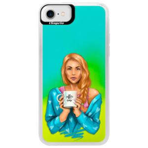 Neonové pouzdro Blue iSaprio Coffe Now Redhead na mobil Apple iPhone 7