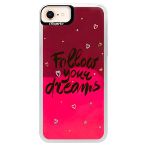 Neonové pouzdro Pink iSaprio Follow Your Dreams black na mobil Apple iPhone 8