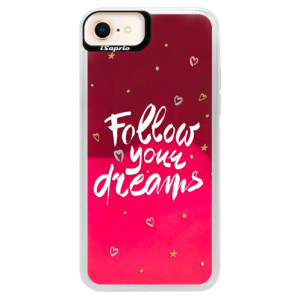 Neonové pouzdro Pink iSaprio Follow Your Dreams white na mobil Apple iPhone 8