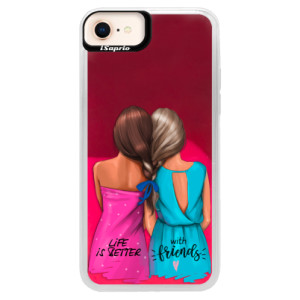 Neonové pouzdro Pink iSaprio Best Friends na mobil Apple iPhone 8