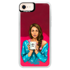 Neonové pouzdro Pink iSaprio Coffe Now Brunette na mobil Apple iPhone 8