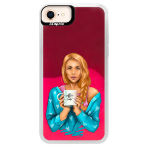 Neonové pouzdro Pink iSaprio Coffe Now Redhead na mobil Apple iPhone 8