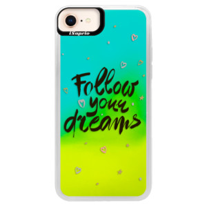 Neonové pouzdro Blue iSaprio Follow Your Dreams black na mobil Apple iPhone 8