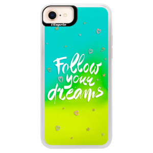 Neonové pouzdro Blue iSaprio Follow Your Dreams white na mobil Apple iPhone 8