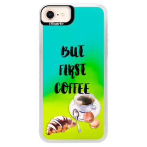 Neonové pouzdro Blue iSaprio First Coffee na mobil Apple iPhone 8