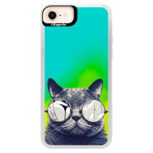 Neonové pouzdro Blue iSaprio Crazy Cat 01 na mobil Apple iPhone 8
