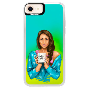 Neonové pouzdro Blue iSaprio Coffe Now Brunette na mobil Apple iPhone 8