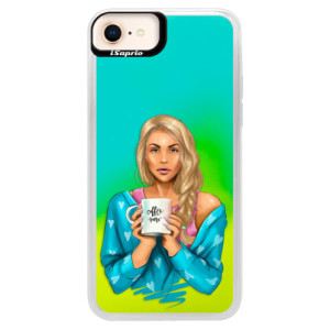 Neonové pouzdro Blue iSaprio Coffe Now Blond na mobil Apple iPhone 8