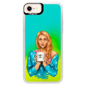 Neonové pouzdro Blue iSaprio Coffe Now Redhead na mobil Apple iPhone 8