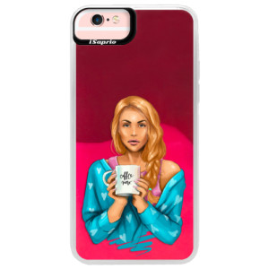 Neonové pouzdro Pink iSaprio Coffe Now Redhead na mobil Apple iPhone 6 Plus/6S Plus