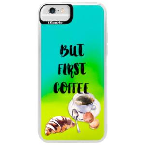 Neonové pouzdro Blue iSaprio First Coffee na mobil Apple iPhone 6 Plus/6S Plus