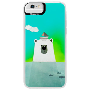 Neonové pouzdro Blue iSaprio Bear With Boat na mobil Apple iPhone 6 Plus/6S Plus
