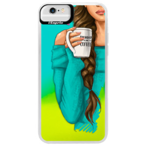 Neonové pouzdro Blue iSaprio My Coffe and Brunette Girl na mobil Apple iPhone 6 Plus/6S Plus