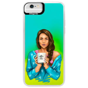 Neonové pouzdro Blue iSaprio Coffe Now Brunette na mobil Apple iPhone 6 Plus/6S Plus