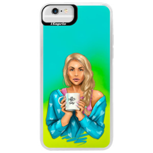 Neonové pouzdro Blue iSaprio Coffe Now Blond na mobil Apple iPhone 6 Plus/6S Plus