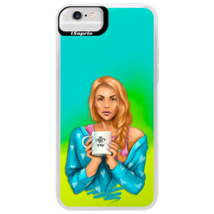 Neonové pouzdro Blue iSaprio Coffe Now Redhead na mobil Apple iPhone 6 Plus/6S Plus