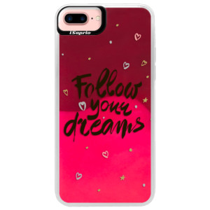 Neonové pouzdro Pink iSaprio Follow Your Dreams black na mobil Apple iPhone 7 Plus