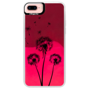 Neonové pouzdro Pink iSaprio Three Dandelions black na mobil Apple iPhone 7 Plus