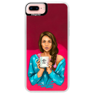 Neonové pouzdro Pink iSaprio Coffe Now Brunette na mobil Apple iPhone 7 Plus