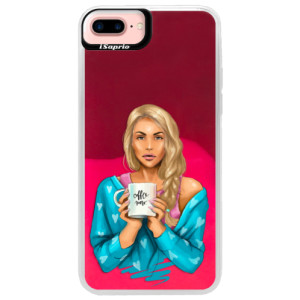 Neonové pouzdro Pink iSaprio Coffe Now Blond na mobil Apple iPhone 7 Plus