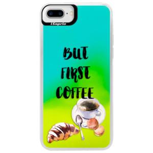 Neonové pouzdro Blue iSaprio First Coffee na mobil Apple iPhone 7 Plus