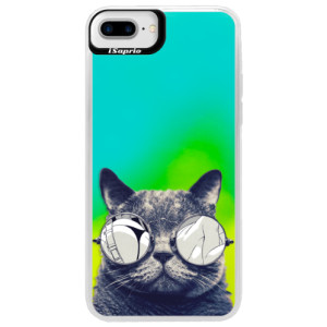 Neonové pouzdro Blue iSaprio Crazy Cat 01 na mobil Apple iPhone 7 Plus