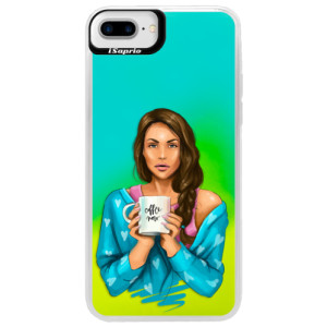 Neonové pouzdro Blue iSaprio Coffe Now Brunette na mobil Apple iPhone 7 Plus