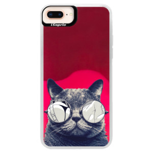 Neonové pouzdro Pink iSaprio Crazy Cat 01 na mobil Apple iPhone 8 Plus