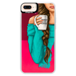 Neonové pouzdro Pink iSaprio My Coffe and Brunette Girl na mobil Apple iPhone 8 Plus
