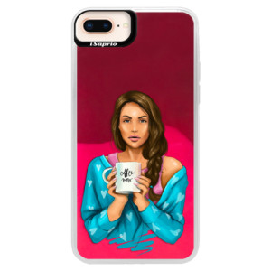 Neonové pouzdro Pink iSaprio Coffe Now Brunette na mobil Apple iPhone 8 Plus
