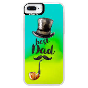 Neonové pouzdro Blue iSaprio Best Dad na mobil Apple iPhone 8 Plus