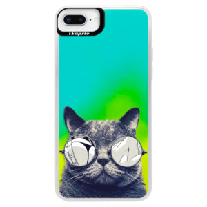 Neonové pouzdro Blue iSaprio Crazy Cat 01 na mobil Apple iPhone 8 Plus