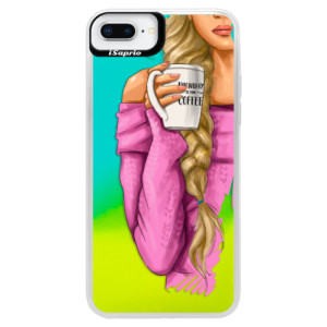 Neonové pouzdro Blue iSaprio My Coffe and Blond Girl na mobil Apple iPhone 8 Plus