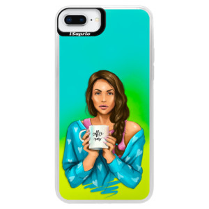 Neonové pouzdro Blue iSaprio Coffe Now Brunette na mobil Apple iPhone 8 Plus