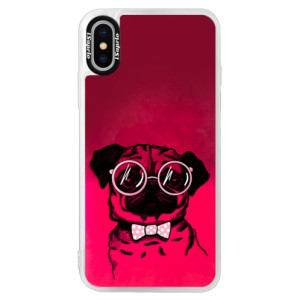 Neonové pouzdro Pink iSaprio The Pug na mobil Apple iPhone X