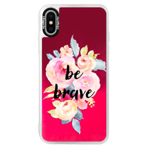 Neonové pouzdro Pink iSaprio Be Brave na mobil Apple iPhone X
