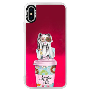 Neonové pouzdro Pink iSaprio Donut Worry na mobil Apple iPhone X