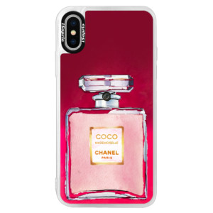 Neonové pouzdro Pink iSaprio Chanel Rose na mobil Apple iPhone X